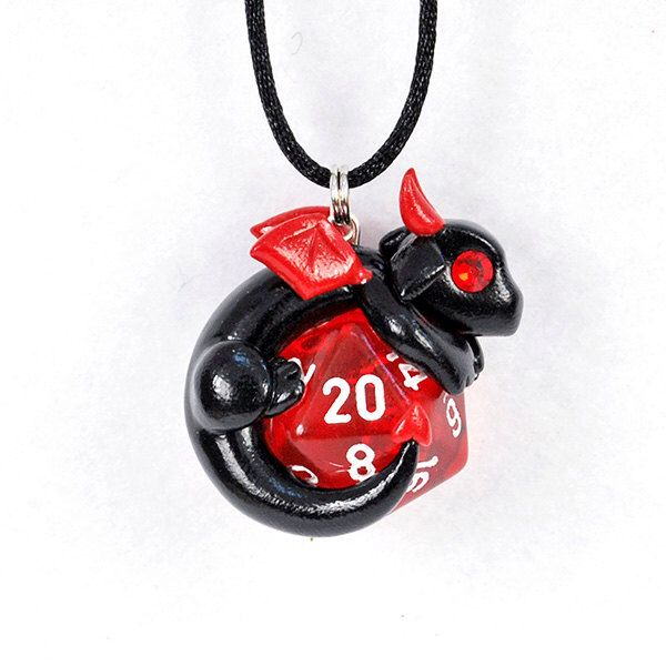 Black devil dragon d20 pendant, polymer clay dragon necklace, Halloween dice pendant, gamer jewelry, black dragon, dungeons and dragons by HowManyDragons on Etsy https://www.etsy.com/listing/253227224/black-devil-dragon-d20-pendant-polymer