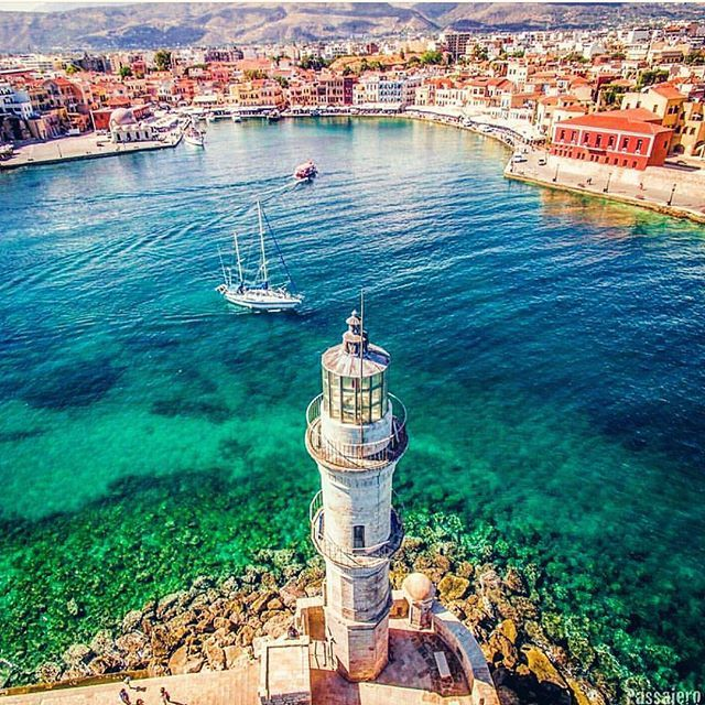 Chania, Crete ...  Congratulations for this amazing picture are credited to @passajero who managed to capture the charm of #chaniaoldport   #cretesecrets #crete #oldport #venetianport #lighthouse #viewfromthetop