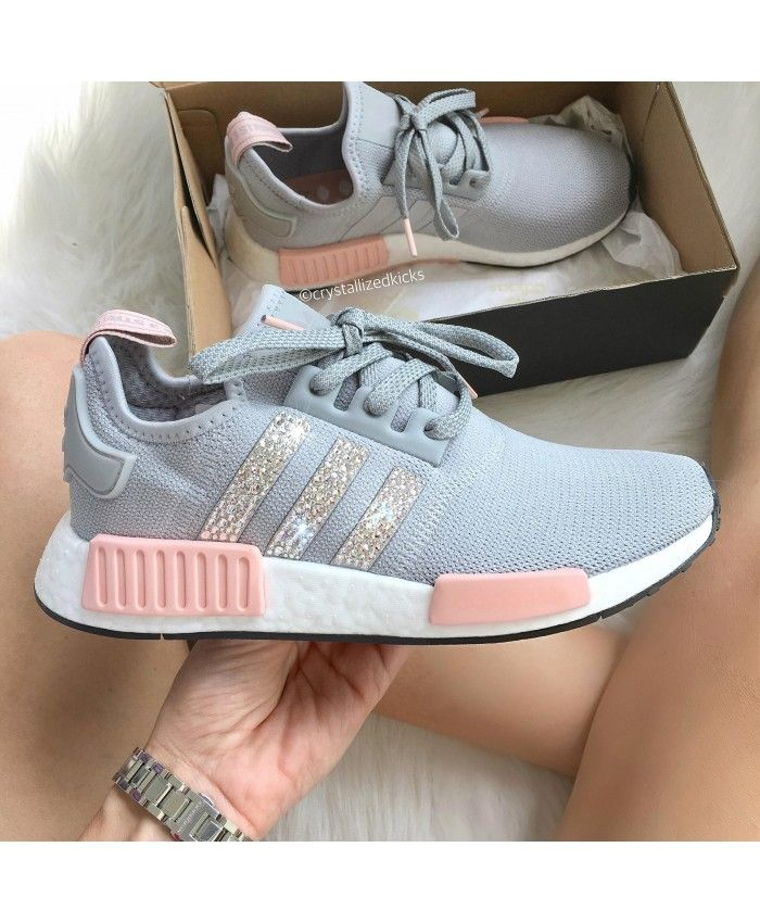 new style e65db 9f7ae Cheap Adidas NMD Crystal Trainers In Dark Grey Pink Sale Clearance