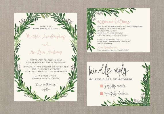 Vintage Watercolor Botanical Wedding Suite // by blacklabstudio