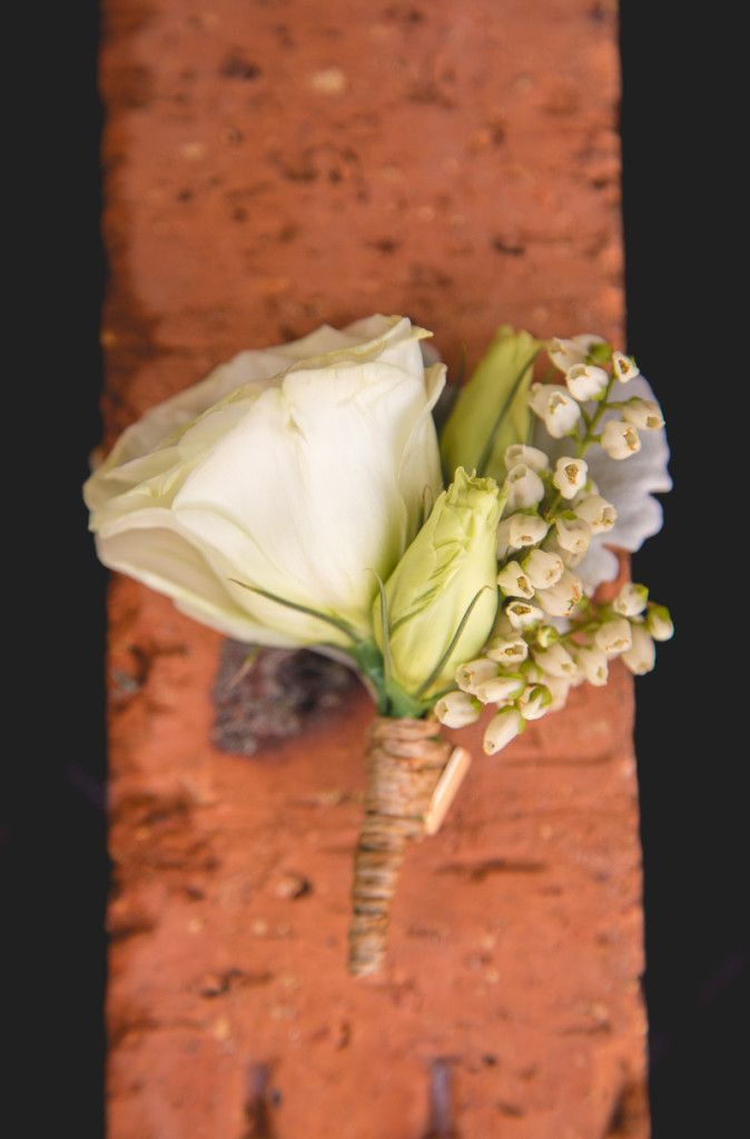 Kylie & Steven's Blooming Brilliant Wedding at The Sebel Windsor rustic twine wrapped buttonhole.