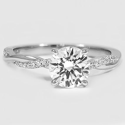 Platinum Petite Twisted Vine Diamond Ring // Set with a 1.29 Carat, Round, Ideal Cut, G Color, VS1 Clarity Lab Diamond #BrilliantEarth