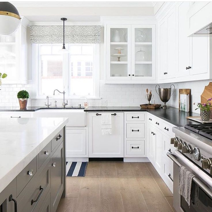 """""""Would love to be spending my Sunday in this lovely kitchen by @kellynuttdesign Loving the island cabinetry color and the soapstone countertops. #sunday…"""""""