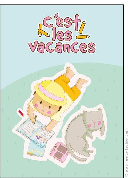 #carte #aout #vacances #piscine #plage #voyage #tourisme #relax #repos #soleil  Carte C'est les vacances pour envoyer par La Poste, sur Merci-Facteur !