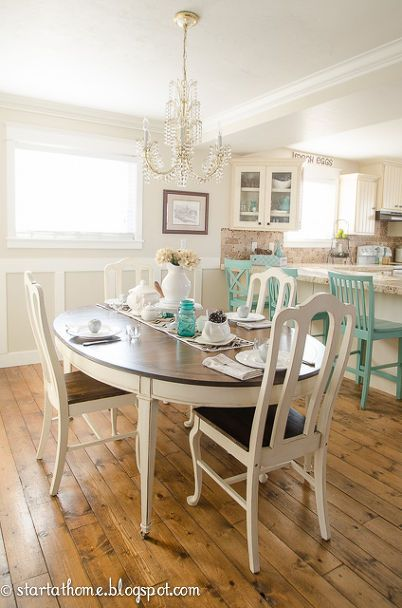 repainting kitchen table in white and brown, painted furniture