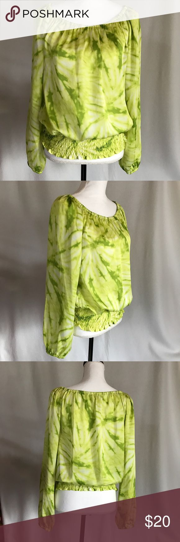 """Michael Kors Lemon Lime Silky Tie Dye Peasant Top Lightweight peasant top from Michael Kors. Soft silky feel fabric with tie dye watercolor print in shades of green and yellow.  Smocked elastic waist.  Wear on or off shoulder.  Elastic neck and cuffs. Long sleeve.  Size medium.  Pit to pit laying flat 22"""", length 23.5"""".    100% polyester. In excellent condition. MICHAEL Michael Kors Tops"""