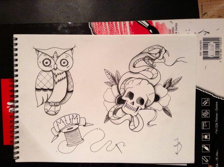 #tattoo #flash #tattoos #art #drawing #snakeandskull #owl #mum