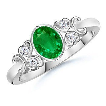 Angara Victorian Carving Emerald and Diamond Vintage Ring in 14k White Gold kkcll