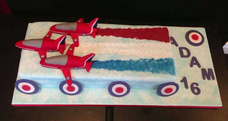 A Red Arrows themed birthday cake