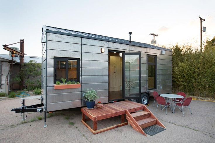 To create the SaltBox, Santa Fe-based Extraordinary Structures worked with Los Alamos National Laboratory engineers on thermal efficiency and their panelized construction system cut by a CNC machine. The result was an environmentally-friendly tiny house with contemporary design.