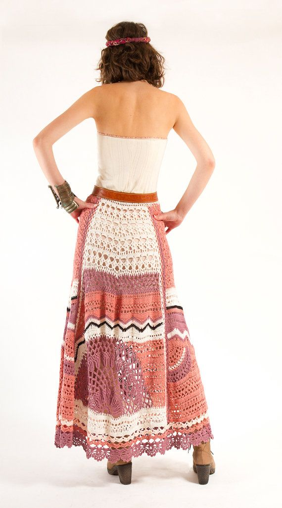 Ethnic Bohemian Hand Crochet Maxi Skirt OneofaKind by NaliniShop