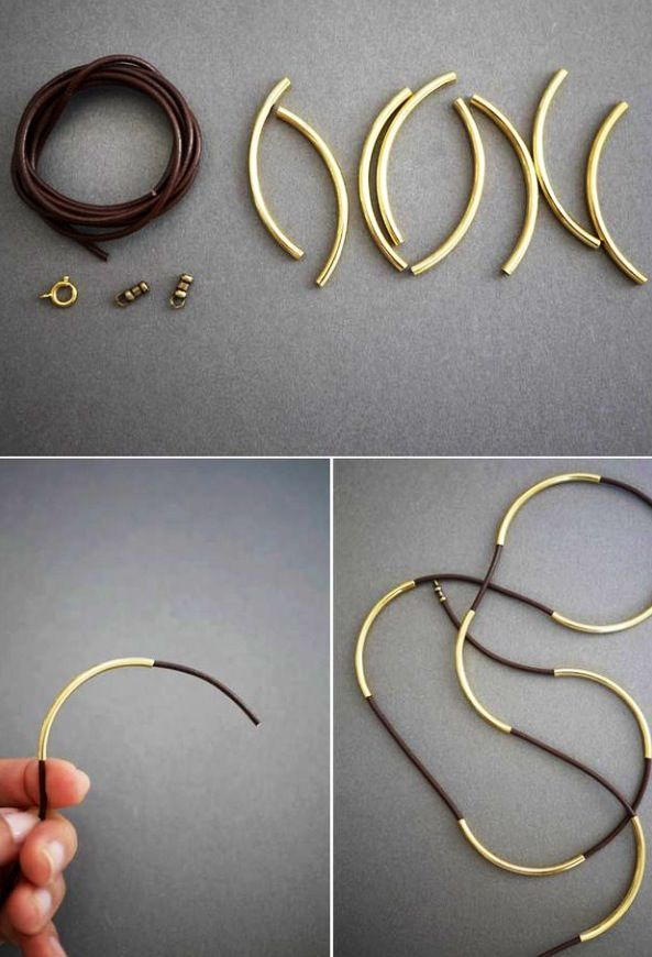 Leather String and Long Gold Bead Bracelet