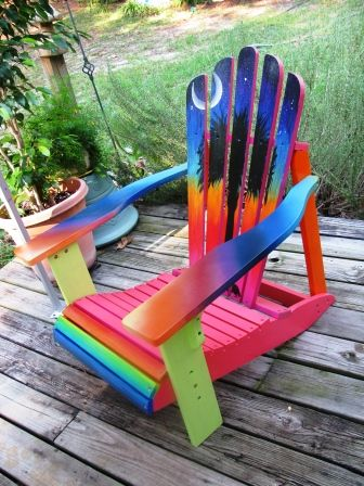 Painted Adirondack Chair Palmetto Moon rainbow colors