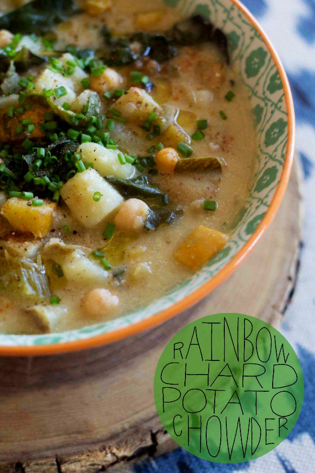 So healthy, easy, and delicious! | Rainbow Chard Potato Chowder | By the Ramblin' Rose for Sycamore Street Press