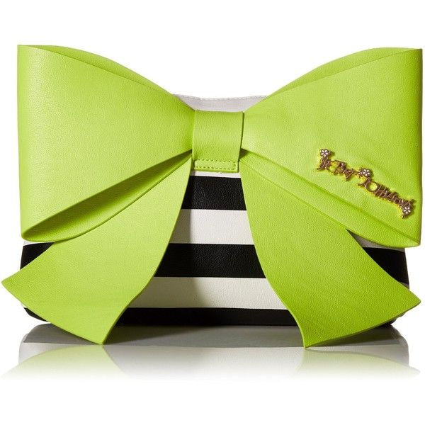 Betsey Johnson Big Bow Chic LG Clutch (£60) ❤ liked on Polyvore featuring bags, handbags, clutches, torebki, bow handbag, betsey johnson purses, betsey johnson handbags, bow purse and green clutches