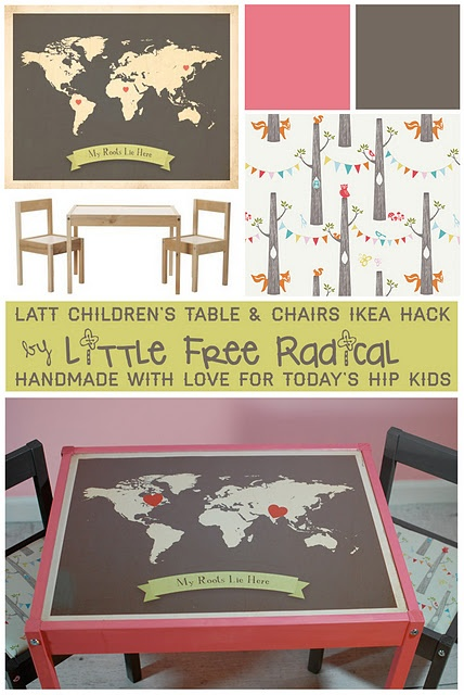 IKEA hack with LATT children's activity table & chairs set ($20) for kids room    world map from My Roots Collection by Children Inspire Design. Fabric from Circa 52 collection by Birch Fabrics