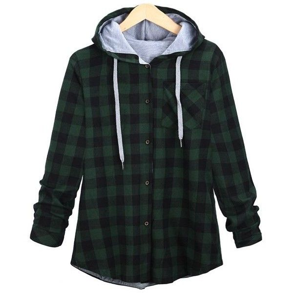 Long Sleeve Plaid Single-Breasted Hoodie (29 CAD) ❤ liked on Polyvore featuring tops, hoodies, jackets, flannel, outerwear, sweatshirt hoodies, flannel hoodie, flannel top, plaid hoodies and plaid top