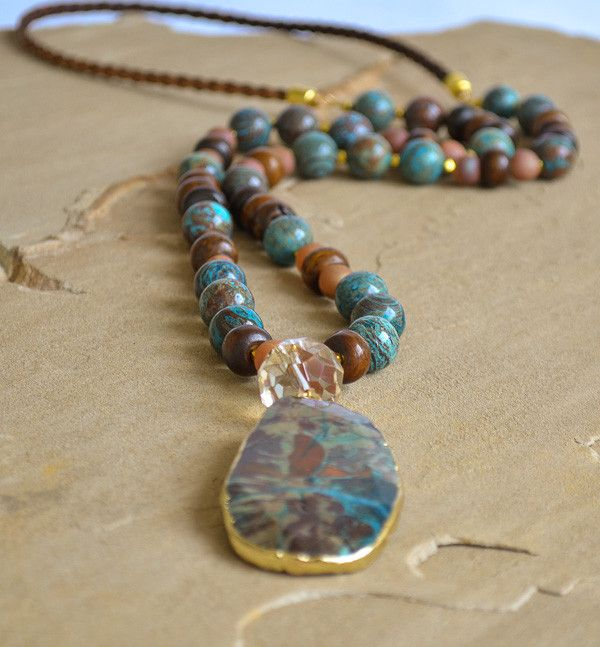 """""""Gabrielle"""" is a new addition to our 2016 ekoluxe collection. Ocean jasper, champagne druzy, bone rondelle beads and braided leather cord with gold trimmed jasper pendant. Necklace is approximately 32"""