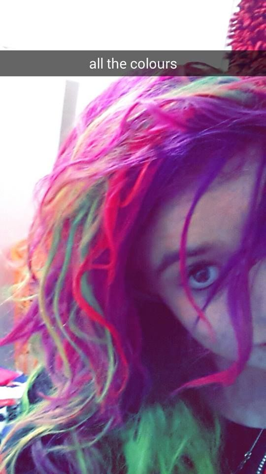 Messy green, pink and purple