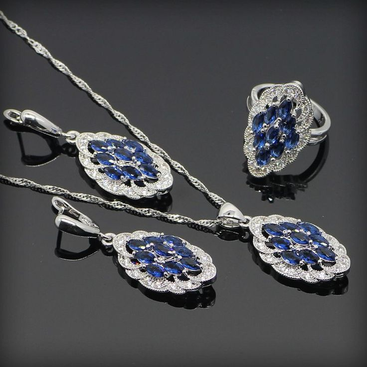Blue Tanzanite White Crystal 925 Sterling Silver Jewelry Sets For Women Necklace Pendant Ring Earring Free Gift Box&Shipping www.bernysjewels.com #bernysjewels #jewels #jewelry #nice #bags
