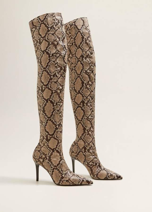 a48be05f15 These over the knees snakeskin boots are only $99 from Mango! #snakeskin  #overthekneeboots