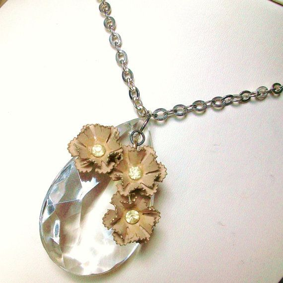 Necklace Repurposed Vintage Jewelry Chandelier Crystal