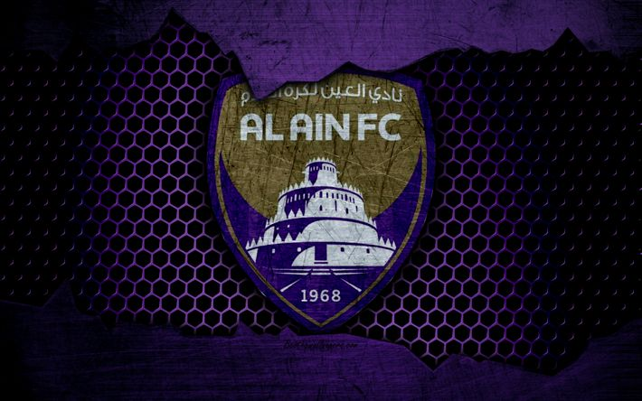 Download wallpapers Al Ain, 4k, logo, UAE League, soccer, football club, UAE, Al Dhafra SCC, grunge, metal texture, Al Ain FC
