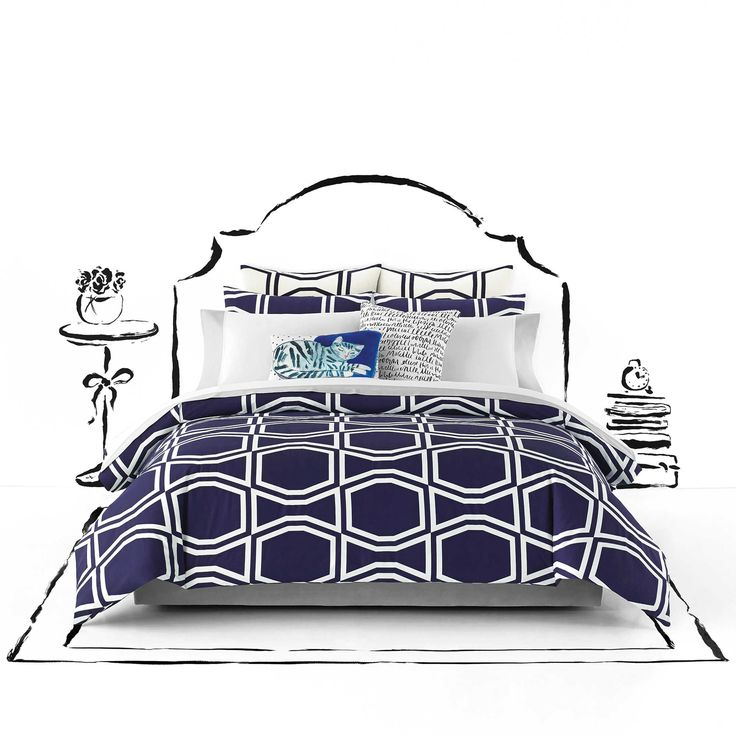 kate spade new york Bow Tile Twin/Twin XL Comforter Set in Navy