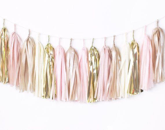 DIY Tassel Garland Kit - Blush Pink & Gold - Champagne, Ivory, Nude, Rose Pink, Wedding Shower Tissue Paper Tassle Decor Balloon Tails
