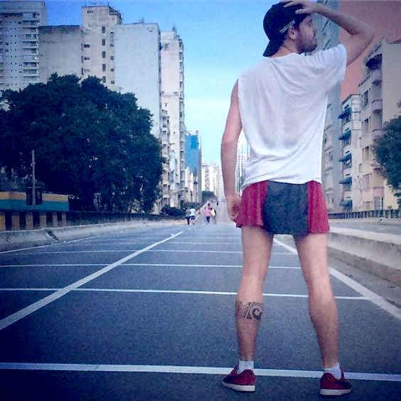 Man in micro mini skirt