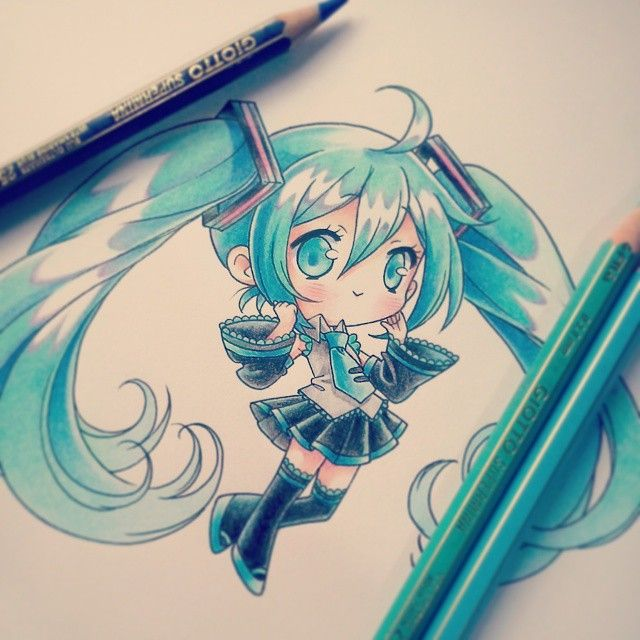 Omg love this drawing!! miku fan forever!! Hatsune miku chibi drawing