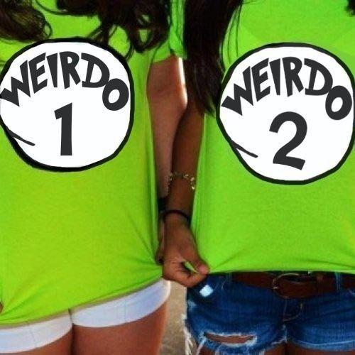 Wish | Weirdo 1 Weirdo 2 Shirt Best Friends Custom Made Halloween Costume @Darlene Lichkowski O'Brien
