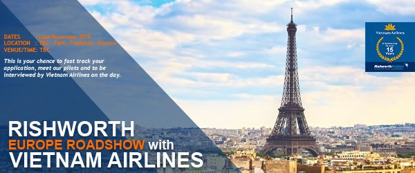 Rishworth and Vietnam Airlines' EXCLUSIVE Europe Roadshow! Register your interest here - http://ow.ly/UgxOY #RishworthAV #aviation #jobs