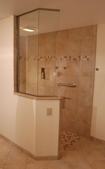 Walk in shower designs, Showers and Wall boards on Pinterest