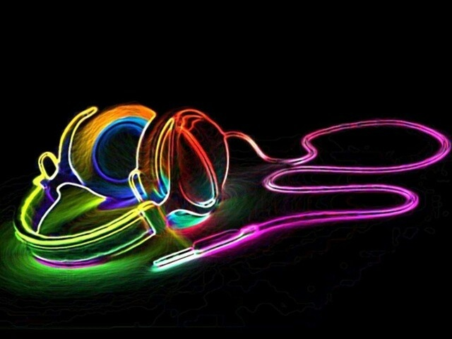Neon Music Notes Wallpaper: Backgrounds And Avatars
