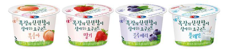 서울우유 목장의 신선함이 살아있는 요구르트 (복숭아, 딸기, 블루베리, 플레인)