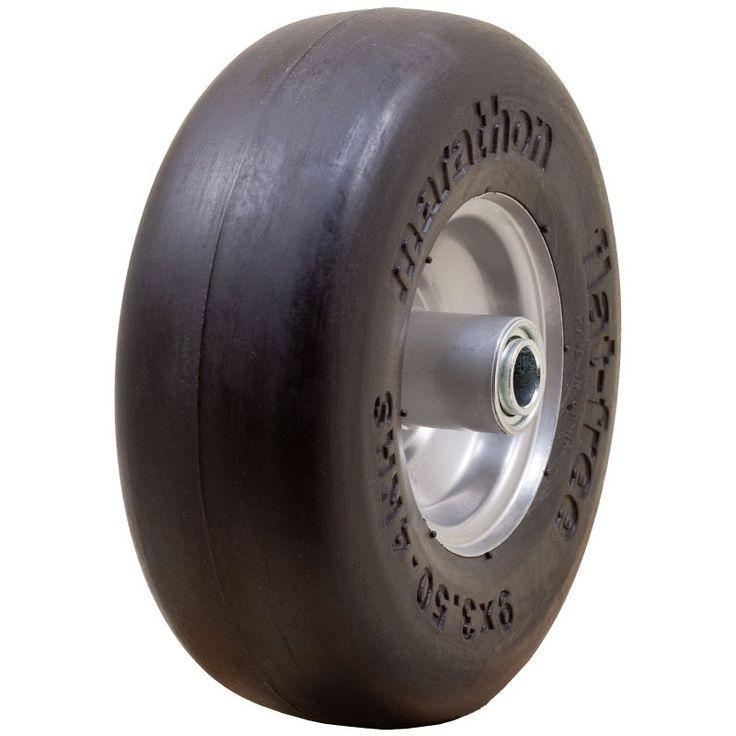 Marathon 01014 Smooth Tread Flat Free Lawn Mower Tire - 1352-1216