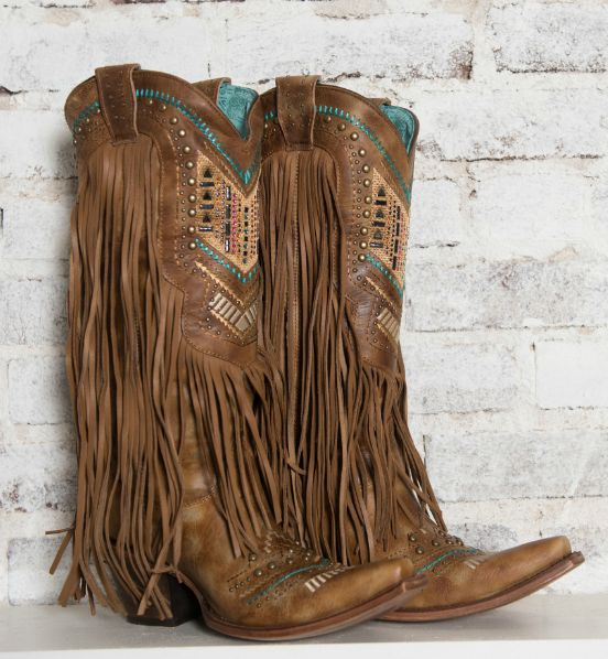 Women's Honey Crystal Pattern Fringe Cowgirl Boot - C2910  http://countryoutfitter.com/products/108662-womens-crystal-pattern-fringe-boot-honey #fringe #corral