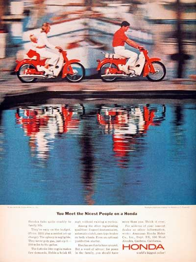 1964 Honda Motor Scooter original vintage ad. Original MSRP started at $245 for the 4 stroke 50 cc model. You meet the nicest people on a Honda.