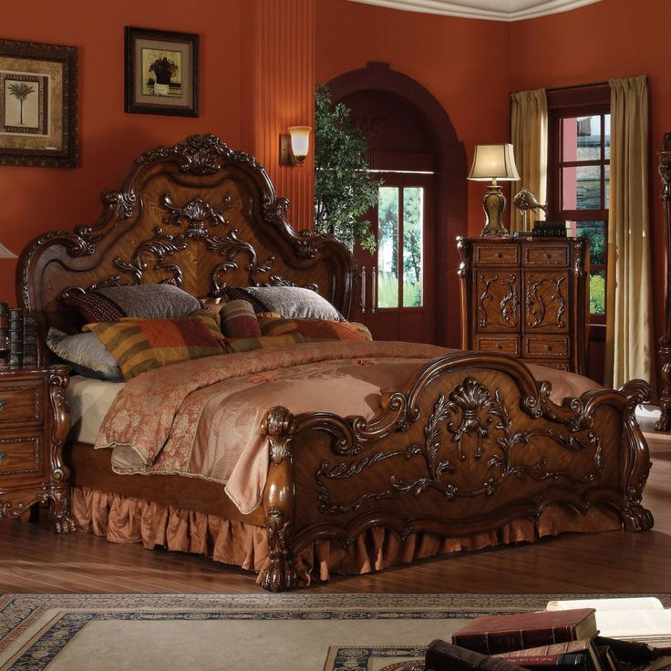 Acme Furniture Queen Bed in Cherry Oak Traditional