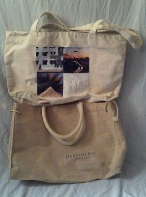 Lot-of-Two-Natural-Color-Large-Canvas-Tote-Bags