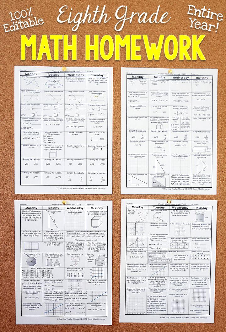 8th Grade Math Homework or 8th Grade Spiral Math Warm Ups ...