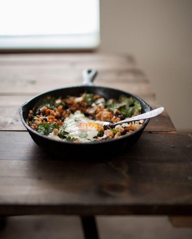 Chipotle Black Bean, Rice, & Egg Skillet | Naturally Ella