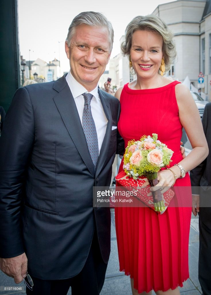 King Philippe of Belgium and Queen Mathilde of Belgium arrive at Bozar, the Centre for Fine Arts to attend the concert the evening before the Belgian National day on July 20, 2017 in Brussels, Belgium. (Photo by Patrick van Katwijk/Getty Images)