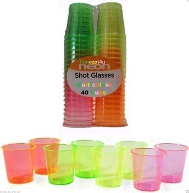 Plastic Shot Glasses 40 Disposable Party Birthday Colourful Jelly Cups 30ml