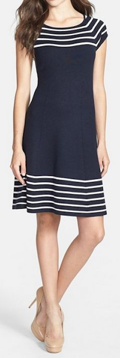 Striped knit flare dress http://rstyle.me/n/wj5k9nyg6