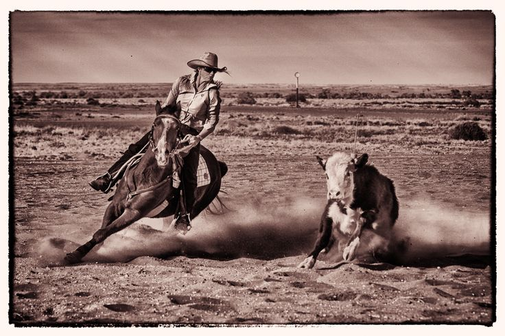 Real cowgirls know how to ride Oodnadatta Camp Draft - July 2013