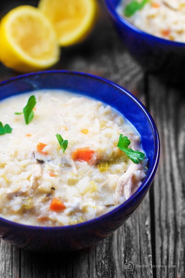 Avgolemono Soup Recipe   The Mediterranean Dish. Avgolemono soup is a classic Greek lemon chicken soup that is thickened with eggs. With rice and vegetables, it's a hearty meal in itself! Comes together in 30 mins or less. Get the step-by-step today!