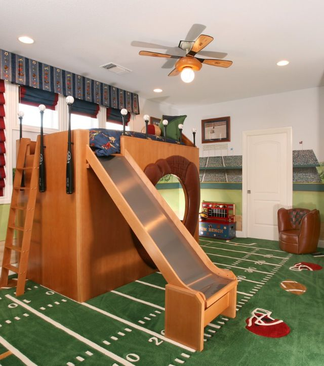 An awesome idea for a boys room :) Heck I would love it if my bed had a slide!