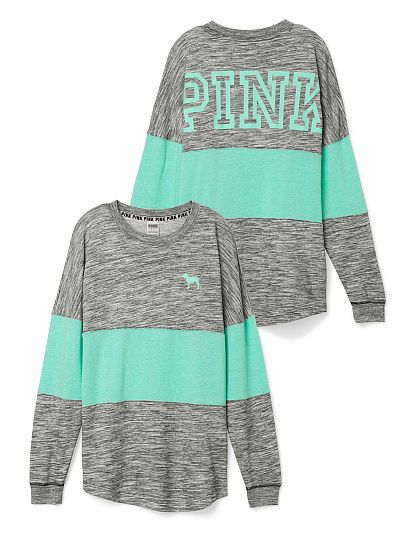 Grey and green Varsity Crew PINK long sleeve tee shirt